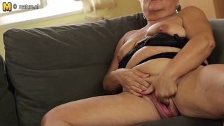 Old Granny Jerk Off On The Couch