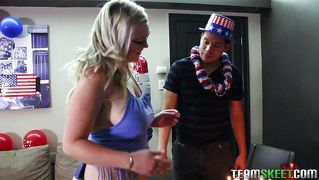 Uncle Sam Enjoys A Busty Lady