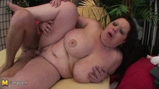 Huge Titted Mama Getting A Mouth Full Of Jizz