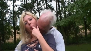 Horny Blonde Fucks Old Man
