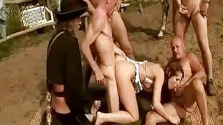 Fives Guys Fucking And Pissing On Sexy Girl