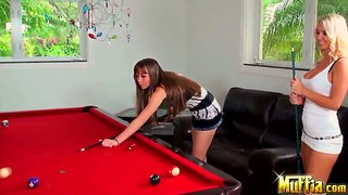 Two Sexy Whore Capri Anderson And Molly Cavalli Play Pool.