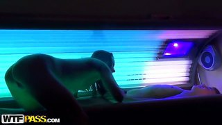 Nickel Joins Her Man In Sunbed For A Session