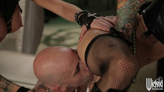 Pair Of Tattooed Goth Girls Share One Studded Cock In Threes