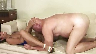 Naughty Brunette Fucking A Fat Grandpa