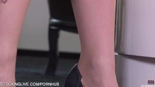Brunette Teen Minnie Manga In Tan Stockings Posing Sexy And Fingering Pussy
