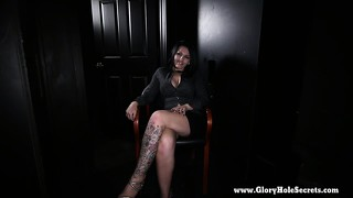 Gloryhole Secrets Kitty Gives Blowjobs At A Gloryhole And Swallows Strangers Cum