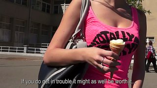 Pretty Teen Angelica Is Talking To A Stranger