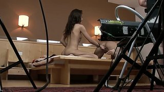 Brunette Cocktail Of Passion With Madlin And Sophie Lynx In The Backstage Movie