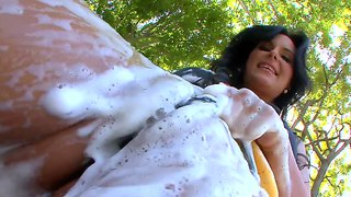 Soaped Up Hottie Phoenix Marie Washes The Car