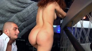 Sexy Slut Amanda A Standing On Her Knees On Stairs And Giving Hot Dick Suck To Her Friend Timo Hardy!