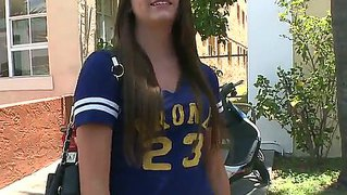 Innocent Looking Schoolgirl Cassandra Nix Wtih Tight Body In Hot Pants Gets Filmed On The Street By Filthy Dude