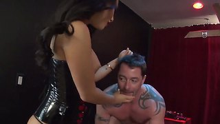 latex male slave asslicking