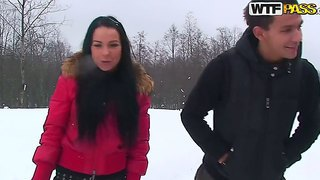 Gorgeous Brunette Emmy Enjoys A Nice Amateur Fuck With Her Hunk Playmate During Winter