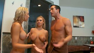 Threesome Scene With Sexy Blondes Jessica Lynn And Nikita Von James In The Bathroom