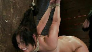 Brunette Tied And Fucked In The Pussy And Mouth