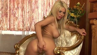 Glamorous Blonde In Stockings Sticks Dildo In Cunt