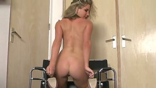 Buxom Blonde Ainsley Addison Masturbates Her Shaved Pussy Sitting At The Chair