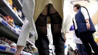 Pentyhose Stockings Upskirt In Supermarket