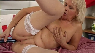 Granny In Stockings Fucks Her Pussy And Ass With A Dildo