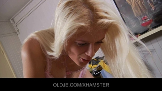 Horny Young Blonde Tease Her Old Husband To Fuck Her