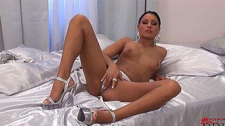 Brunette Model With Beautiful Tanned Skin Aneta Keys Plays With Her Pussy And Metallic Dildo