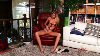 Alysha Rylee Masturbates In A Big Leather Chair