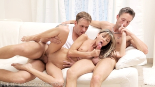 Nubile Films - Tiny Teen Takes On Two Cocks At Once