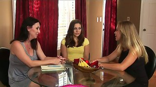 Three Hot Lesbian Bitches Got Together And Are Having Some Dirty Talk At The Table
