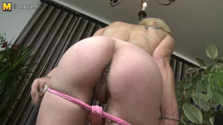 Dirty Old Blonde Slut Playing With Her Dildos