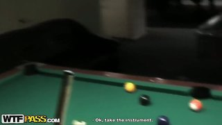 Amateur Honey Natasha Loves To Play Pool And Tease