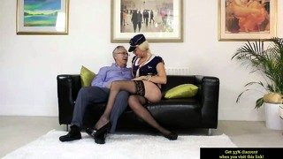 Young Euro Slut Pleasing Old Man