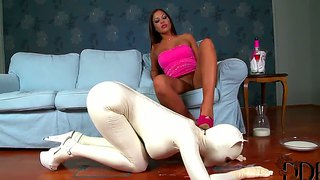 Submissive Slut Latex Lucy Is A Sexy Kitten In White Catsuit