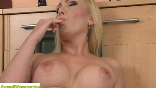 Blonde Housewife Caroline Masturbating