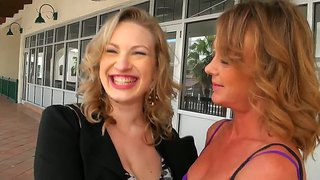 Two Horny Mommies Give Guy A Lesbian Show