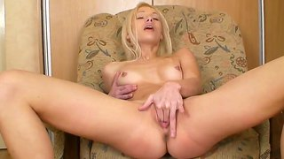 Petite Blondie Allysah Is Masturbating On A Chair