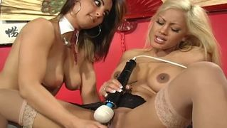 Maxine X & Pussy Cat Have Fun With A Purple Dildo