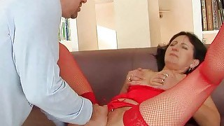 Granny In Red Lingerie Getting Fucked Pretty Hard
