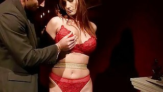 Busty Redhead Gets Bondaged And Fucked Hard