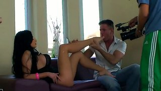 Backstage With Astounding Brunette Aletta Ocean And Lucky Boyfriend Having Fun At The Sofa