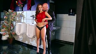 Yurizan Beltran And Her Husband Hammering In The Toilet.