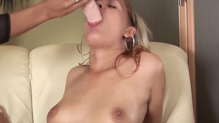 Silky Puffy Peach Penetrated By Dildo