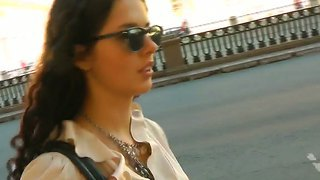 Young Brunette Leonora Looks Pretty And Makes Me Wild On The Street