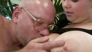 Lucky Grandpa Fucking With Busty Teen
