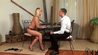 Fascinating Busty Blonde Miranda Turns This Strip Poker Game Into Exciting Blowjob