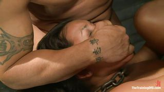 Brunette With Chain Around Her Neck Fucked Hardcore