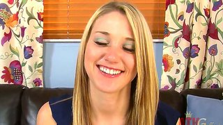 Blonde Shelby Paige Chats For A Bit And Starts To Stimulate Her Pussy Though The Panties