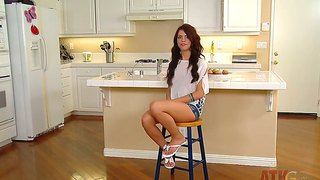 Adriana Chechik Shows Long Legs During Interview