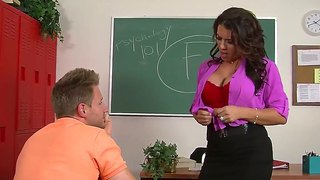 My Crazy And Wild Teacher Leena Sky Sucked My Big Dick Right In The Classroom