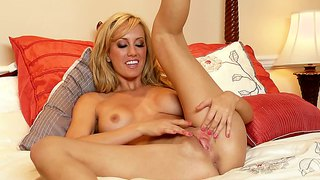 Brett Rossi Masturbates Hard With A Purple Dildo!